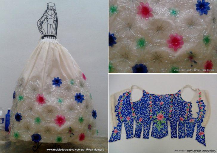 180 adet plastik şişeden yapılan geri dönüşüm elbisesi