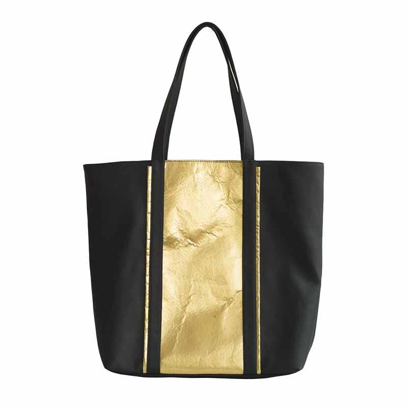 Camille Java Pinatex Shopper Bag - Black/Gold